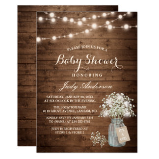 Baby Shower Rustic Baby's Breath Floral Mason Jar Invitation