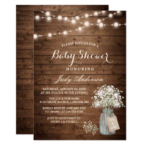 Baby Shower Rustic Babys Breath Floral Mason Jar Invitation