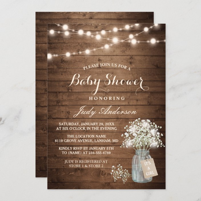 Rustic Bridal Shower Invitation,Mason Jar,Baby/'s Breath,Twine Ribbon,Green Vines,Vintage Key,Burlap,Customizable