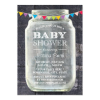 Baby Shower Rustic Barn Wood Mason Jar Card