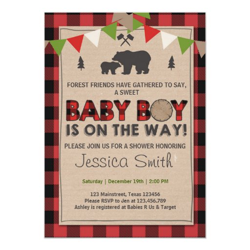 Baby Shower Rustic Lumberjack Baby boy shower Card