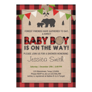 Baby Shower Rustic Lumberjack Baby boy shower Invitation