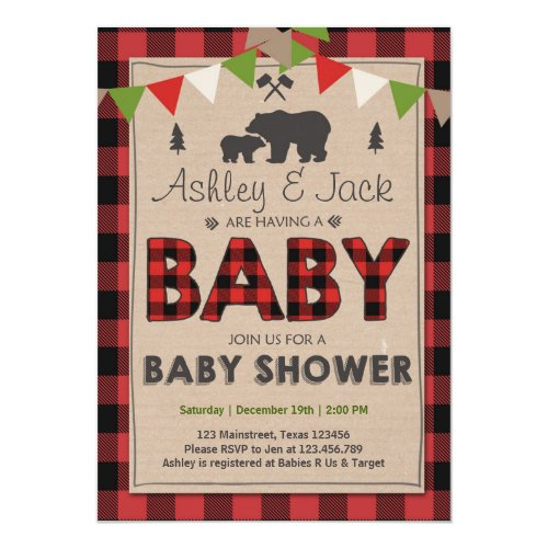 Baby Shower Rustic Lumberjack Outdoor Invitation