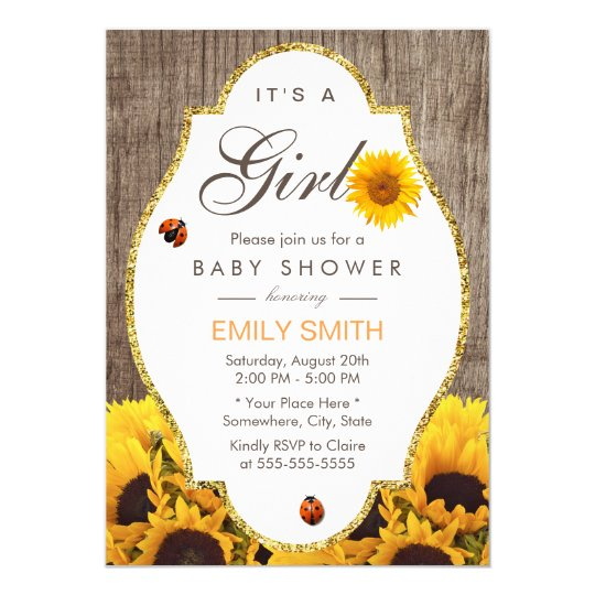Baby Shower Rustic Sunflower Ladybug Country Girl ...