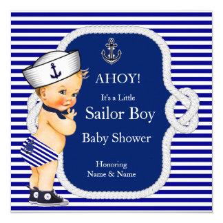 Baby Shower Sailor Boy Blue Stripe Blonde Card
