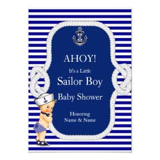 Baby Shower Sailor Boy Navy Blue Stripe Blonde 5x7 Paper Invitation Card
