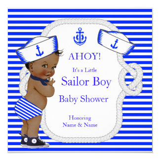 Baby Shower Sailor Boy Royal Blue Stripe Ethnic Card
