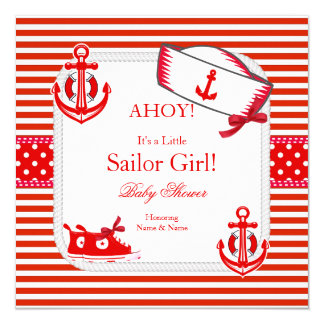 Baby Shower Sailor Girl Red White Sneakers Bow Card