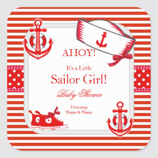 Baby Shower Sailor Girl Red White Sneakers Bow Square Sticker