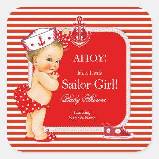 Baby Shower Sailor Girl Red White Stripe Blonde Square Sticker