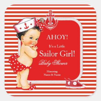 Baby Shower Sailor Girl Red White Stripe Brunette Square Sticker