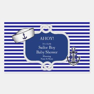 Baby Shower Sailor Hat Boy Blue Stripe Rectangular Sticker