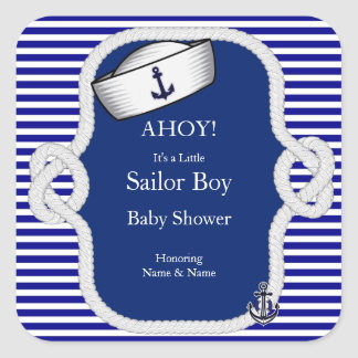 Baby Shower Sailor Hat Boy Blue Stripe Square Sticker
