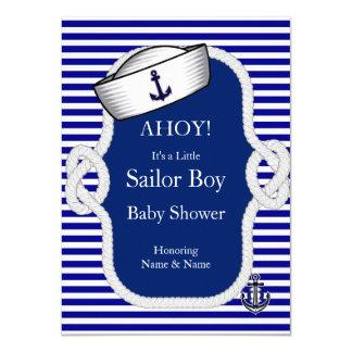 Baby Shower Sailor Hat Boy Navy Blue Stripe 4.5x6.25 Paper Invitation Card