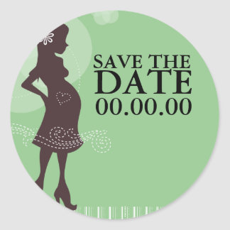 Baby Shower Save The Date Classic Round Sticker