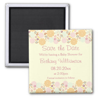 Baby Shower Save The Date Fancy Modern Floral Magnets