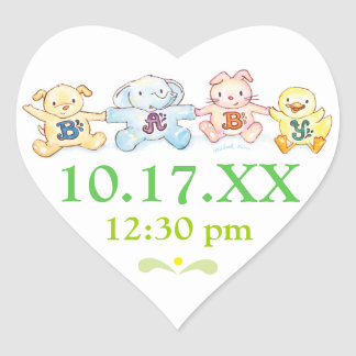 Baby Shower Save the Date Heart Stickers Animals