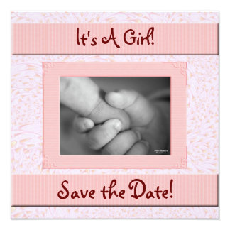 Baby Shower Save the Date Pink and Brown Girl Card
