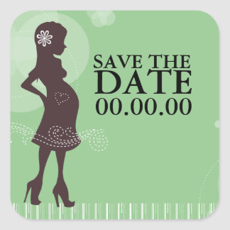 Baby Shower Save the Date Square Stickers
