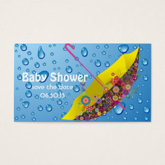 Baby Shower Save the Date Umbrella Business Card