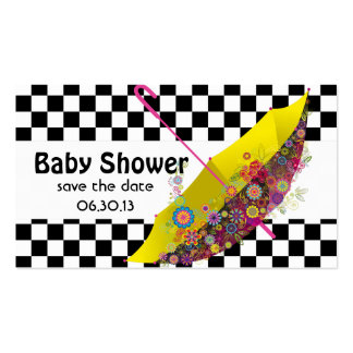 Baby Shower Save the Date Umbrella Checkerboard Double-Sided Standard Business Cards (Pack Of 100)