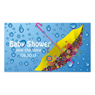 Baby Shower Save the Date Umbrella Double-Sided Standard Business Cards (Pack Of 100)