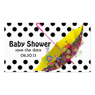 Baby Shower Save the Date Umbrella Polka Dots Double-Sided Standard Business Cards (Pack Of 100)