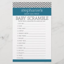 Baby Shower Scramble Game - Teal and Gray Chevrons