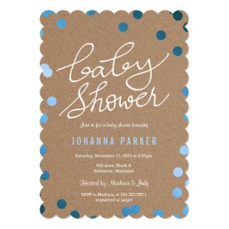 Baby Shower Script Kraft Paper Blue Confetti Card