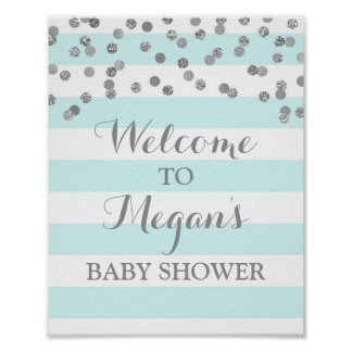 Baby Shower Sign Blue Stripes Silver Confetti