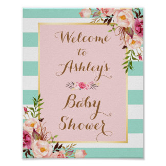 Baby Shower Sign Pink Floral Mini Green Stripes