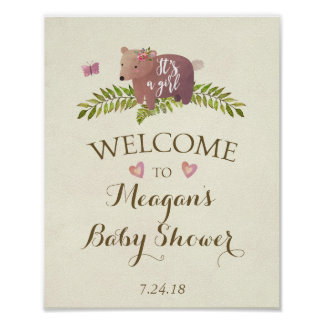 baby shower sign pink it's a girl woodland bear