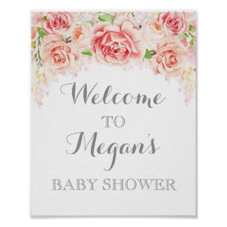 Baby Shower Sign Pink Watercolor Flowers