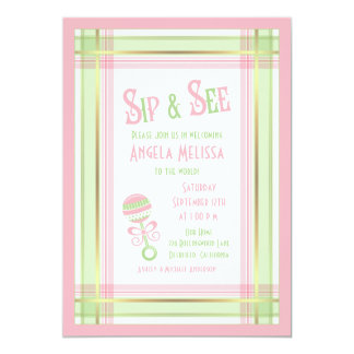 Baby Shower Sip & See | Pink Green Plaid Rattle 5x7 Paper Invitation Card