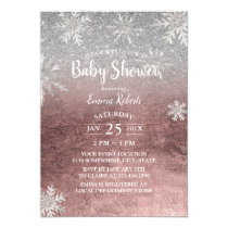 Baby Shower Snowflakes Modern Rose Gold & Silver Card