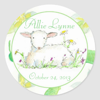 Baby Shower Spring Lamb Watercolor Flowers Green Classic Round Sticker