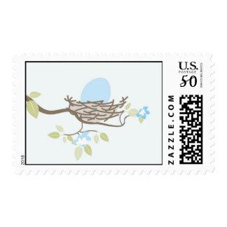 Baby Shower Stamp - Blue Egg in Nest