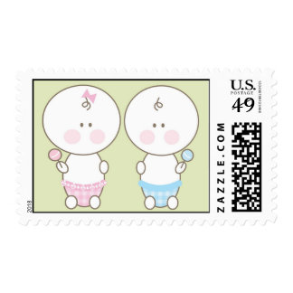 Baby Shower Stamp - Pink & Blue Twin Boy & Girl