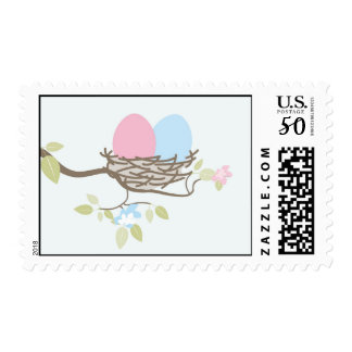 Baby Shower Stamp - Pink & Blue Twin Eggs