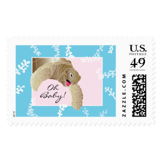 Baby Shower Stamp Pink/Turquoise Turtle