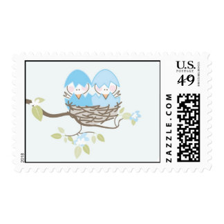 Baby Shower Stamp - Twin Boy Birds