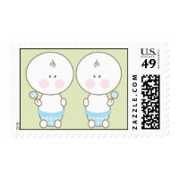 Baby Shower Stamp - Twin Boys