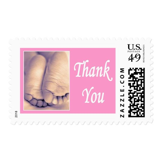 Baby Shower Stamps little feet thank you pink