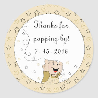 "Baby Shower ""Stars/Gold"" Stickers 1 1/2"" or 3"""
