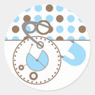 Baby Shower Sticker - Blue Diaper Pin Polka Dots