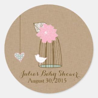 Baby Shower Sticker Hanging Cages & Jars Pink Mint Round Sticker