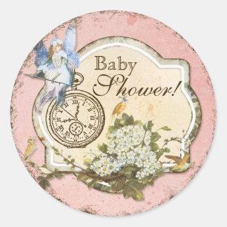 Baby Shower Sticker or Seal - Faerie Princess Round Sticker