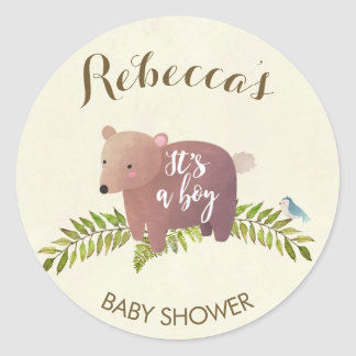 baby shower sticker woodland bear it's a boy