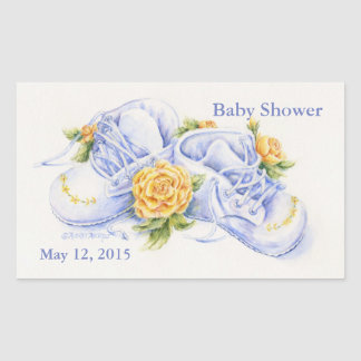 Baby Shower Stickers Baby Shoes and Yellow Roses