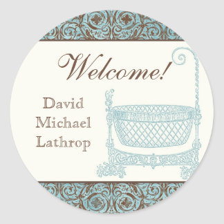 Baby Shower Stickers - Blue Brown Damask Cradle